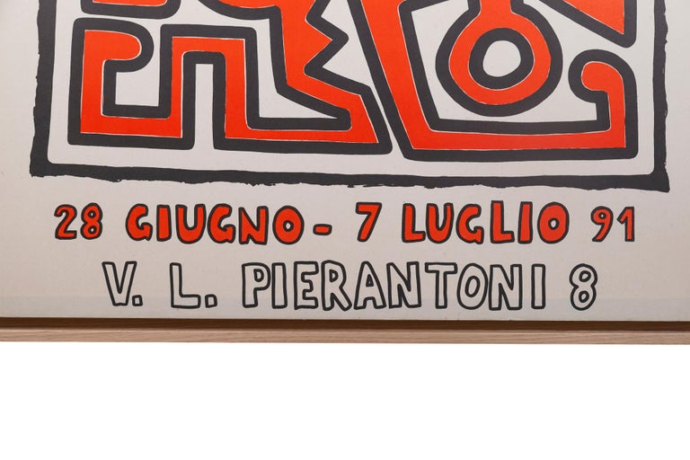 Mid-Century Modern Keith Haring, Original Poster, Italy, circa 1991 For Sale