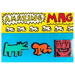 Keith Haring Pop Shop 1985, Set of 3 Vintage Magnets