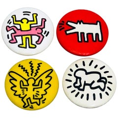 Keith Haring Pop Shop: Set of 4 Original Pins, circa 1986