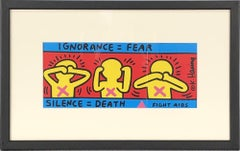 1998 Keith Haring 'Fight Aids' Pop Art Red,Yellow,Blue France Offset Lithograph