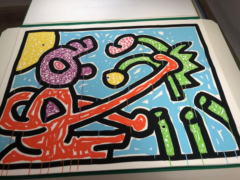 Flowers (1) - Gray Still-Life Print by Keith Haring