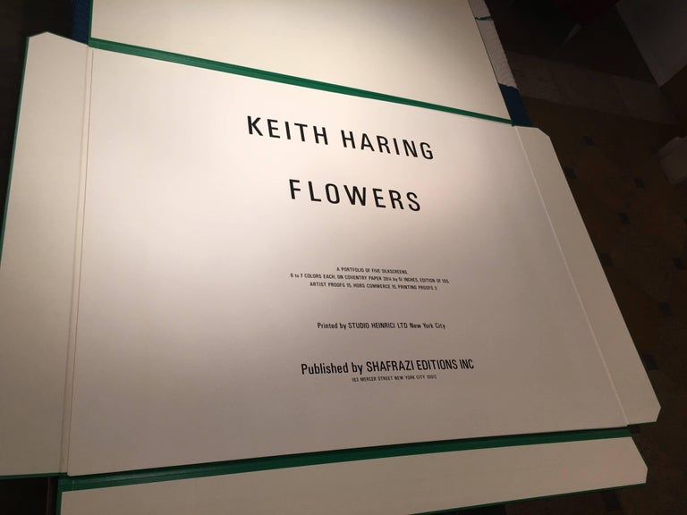 Flowers (3) - Beige Figurative Print by Keith Haring
