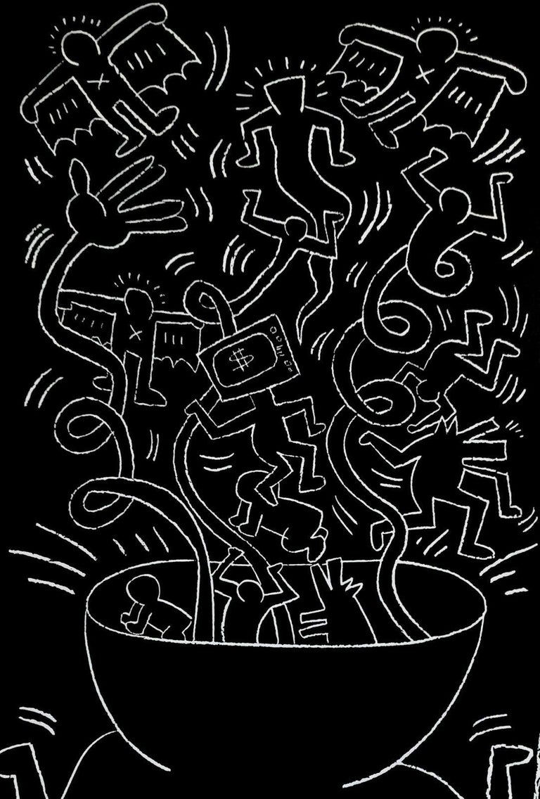 Future Primeval, 1990 Queens Museum Exhibition Poster - Print by (after) Keith Haring