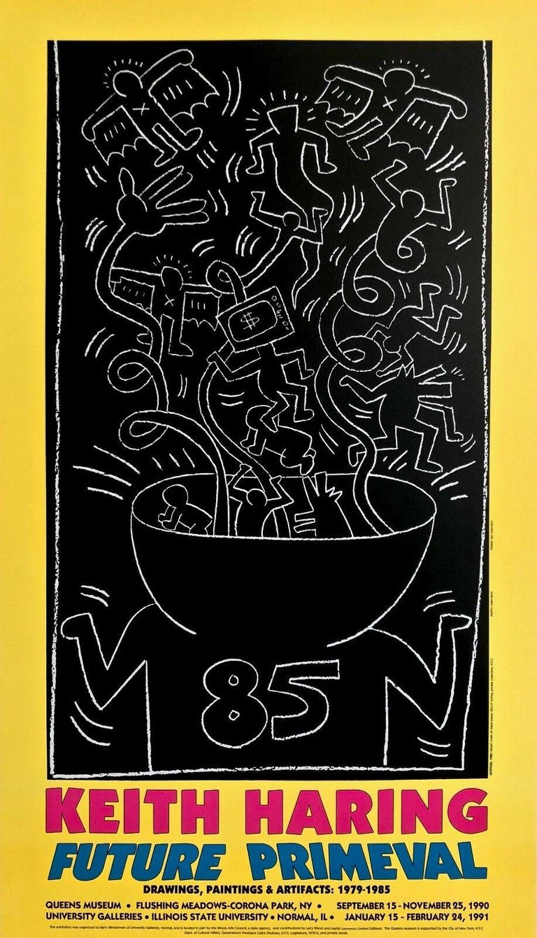 (after) Keith Haring Figurative Print - Future Primeval, 1990 Queens Museum Exhibition Poster