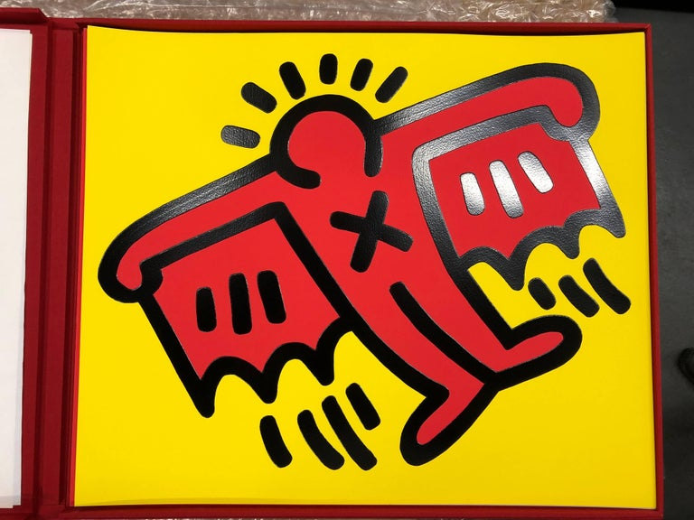 Icons portfolio (5 pieces)  - Blue Figurative Print by Keith Haring