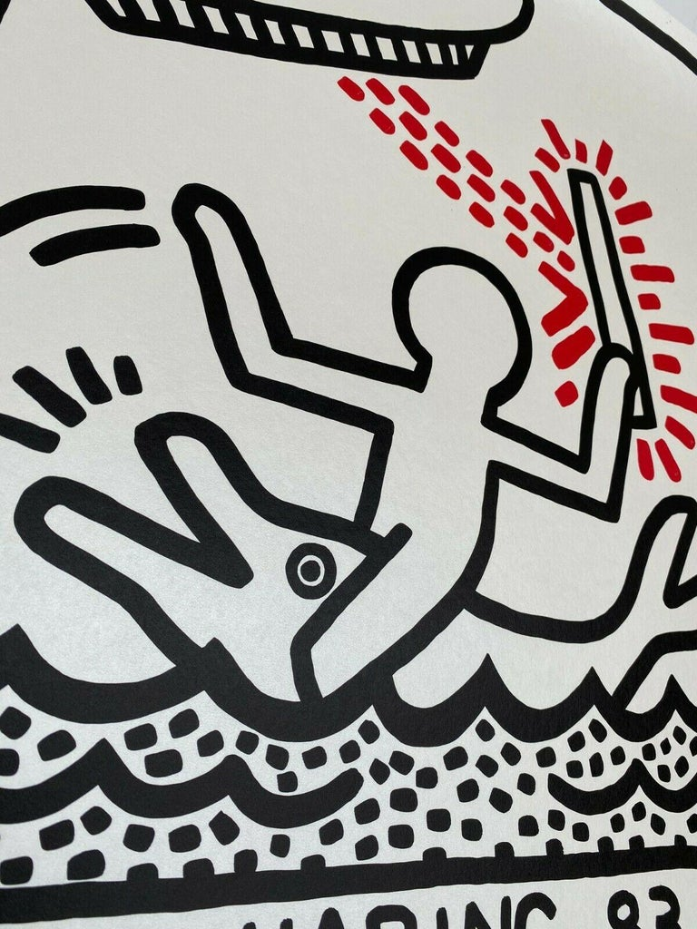 Keith Haring (1958-1990). Galerie Watari, exhibition poster, 1983 Lithograph  - Gray Print by Keith Haring