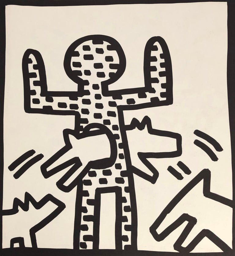 Keith Haring (untitled) Barking Dog Lithograph 1982 Double-sided offset lithograph published by Tony Shafrazi Gallery, New York, 1982 from an edition of 2000.   Single sheet lithograph from the seminal spiral bound, early monograph showcasing