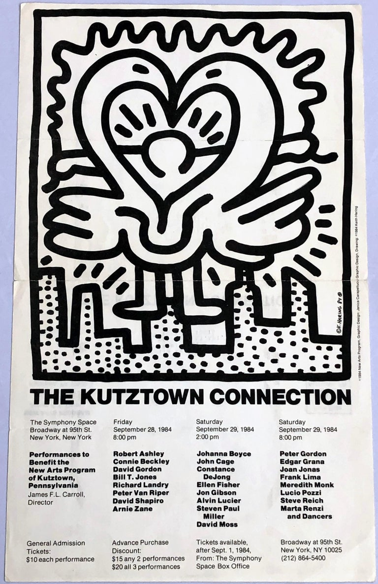 Keith Haring Kutztown Connection, 1984: This poster announcement was created in conjunction with the Benefit Performances for the New Arts Program of Kutztown (Haring's hometown),  September 1984 at Symphony Space in New York City.  Offset printed;