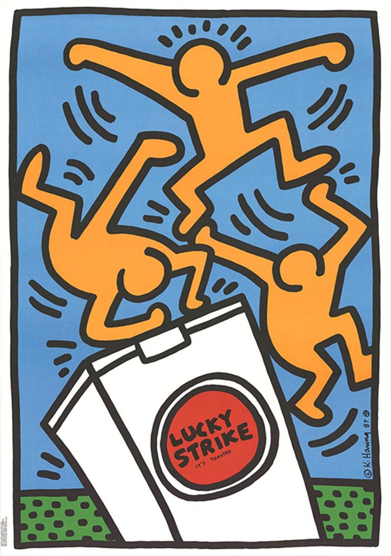 """Vintage original Keith Haring Lucky Strike Screen-print, 1987  """"The advertising posters for Lucky Strike cigarettes reflect the popular Montreux posters from 1983. According to the imprint, they were commissioned by Lucky Strike Switzerland,"""