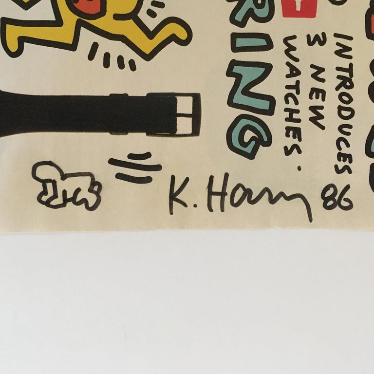 Keith Haring Signed Advertisement for Swatch Watch - Contemporary Print by Keith Haring