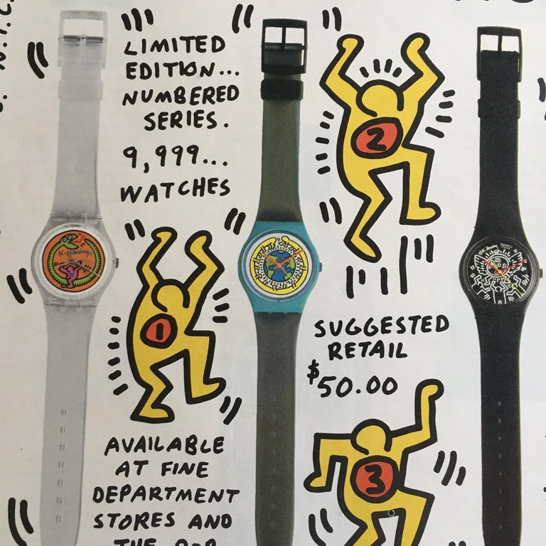 Keith Haring Signed Advertisement for Swatch Watch 1