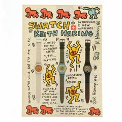 Keith Haring Signed Advertisement for Swatch Watch