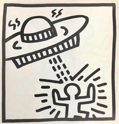 Keith Haring spaceship lithograph 1982 (Haring untitled spaceship)