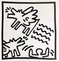 Keith Haring (untitled) Flying Dogs lithograph 1982 (Keith Haring prints)