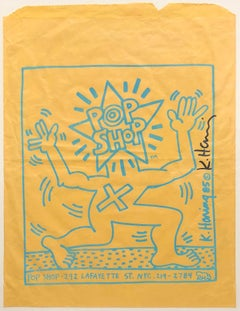 "Original Hand-Signed ""Pop Shop"" Paper Bag From 1985 NYC AIDS Event"