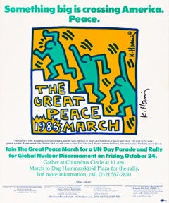 Signed Keith Haring Great Peace March 1986 (signed Keith Haring poster)