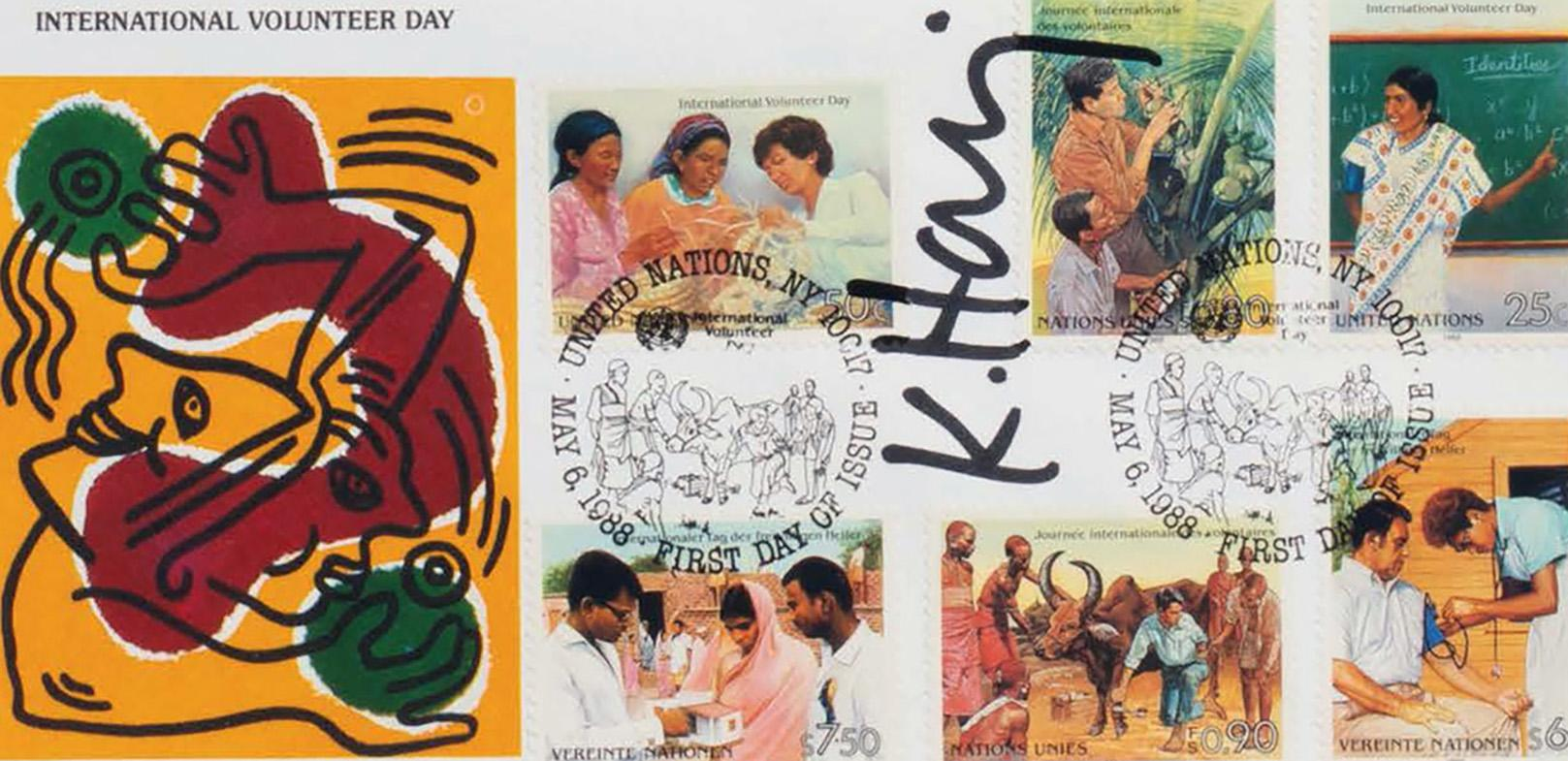 Signed Keith Haring International Volunteer Day mailer 1988