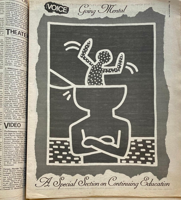 Keith Haring New York, 1982: Rare highly sought-after 1982 Village Voice newspaper featuring cover and interior illustrations by Keith Haring as part of a 'special section on continuing education.'  The complete newspaper. Measures: Approximately