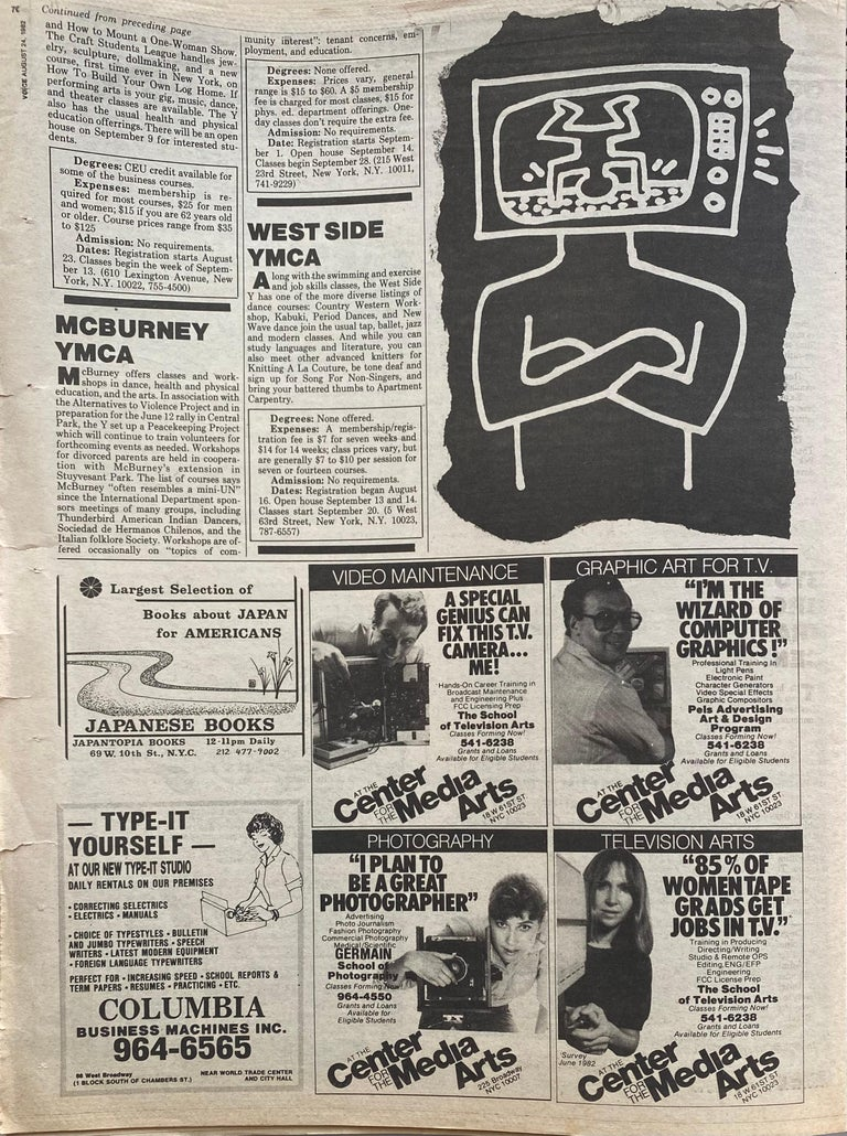 Paper Keith Haring The Village Voice, 1982 For Sale