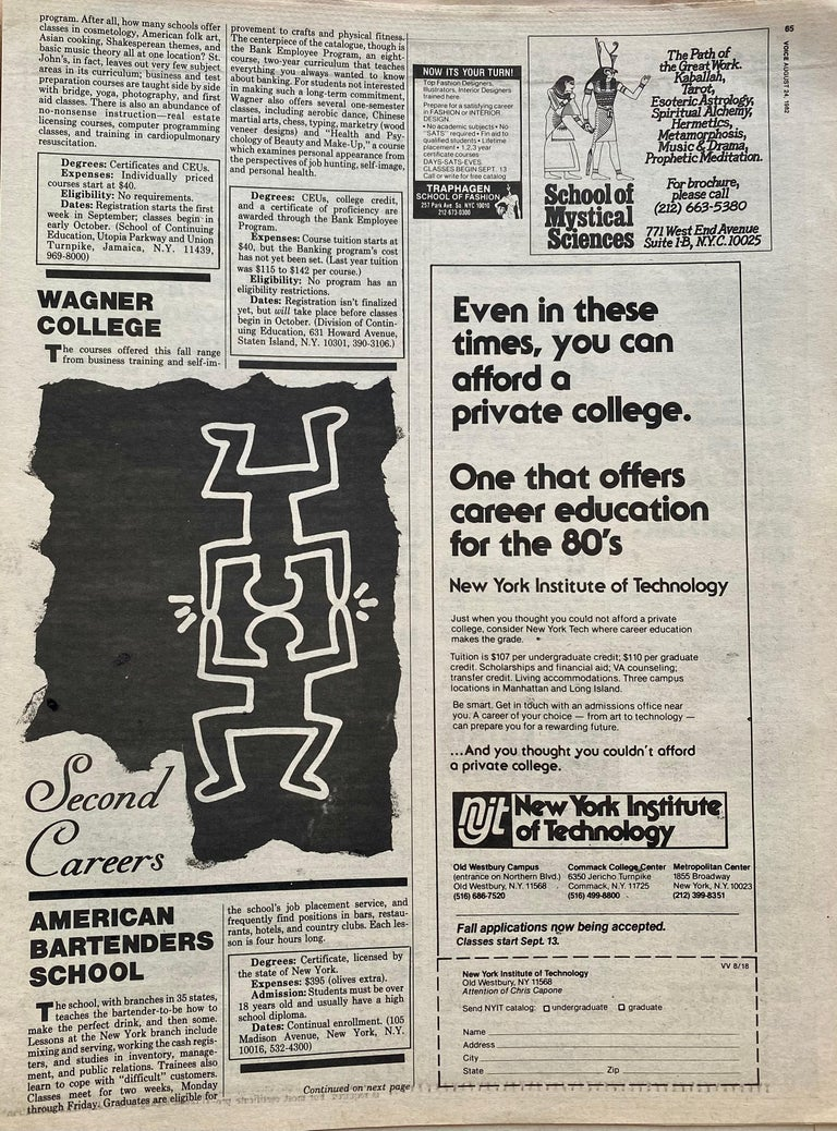 Keith Haring The Village Voice, 1982 For Sale 1