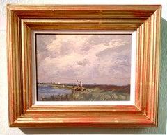 English Impressionist 20th century fisherman fishing in Norfolk , England.