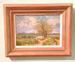 English Impressionist landscape, cows in a field with trees,Norfolk , England.
