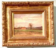 English Impressionist landscape, Farm house with trees, Norfolk , England.
