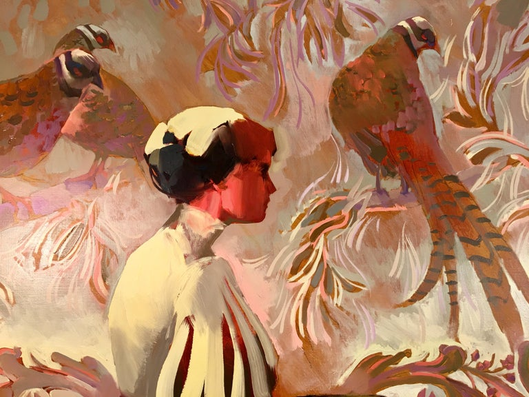 American Keith Lindberg Big Original Impressionist Oil Painting of a Woman with Pheasants For Sale