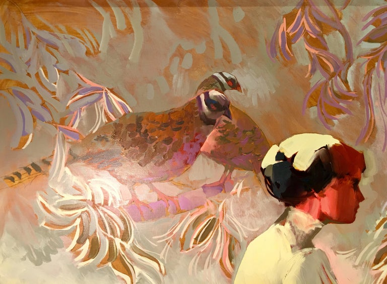 Hand-Painted Keith Lindberg Big Original Impressionist Oil Painting of a Woman with Pheasants For Sale