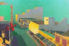 'Red Glider', Large California Modernist oil, Modesto Urban Landscape, Airplane