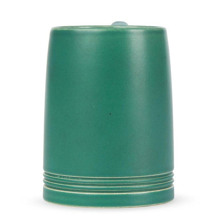 English Keith Murray for Wedgwood Iconic Green Art Deco Mug, circa 1935