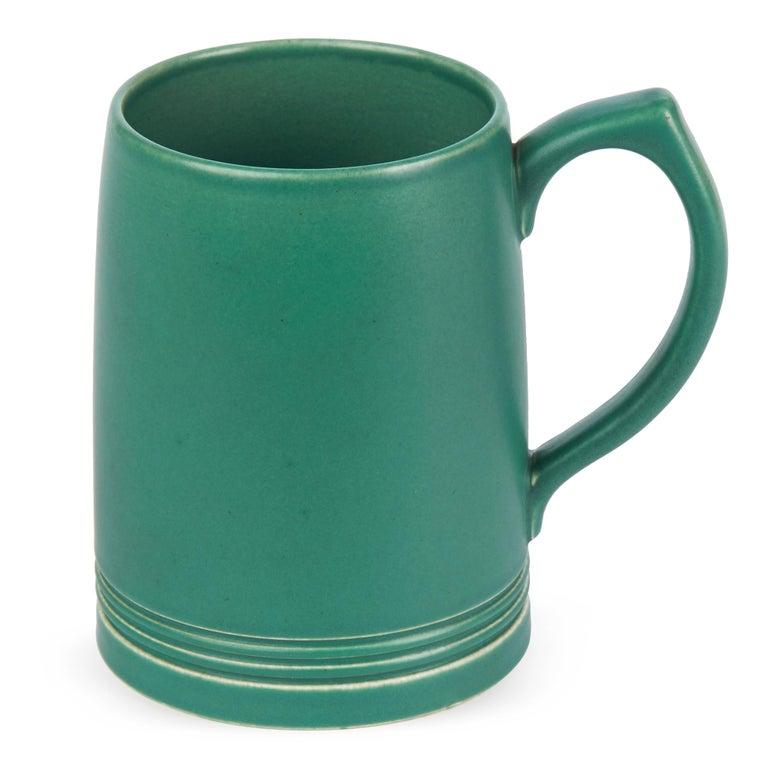 Glazed Keith Murray for Wedgwood Iconic Green Art Deco Mug, circa 1935