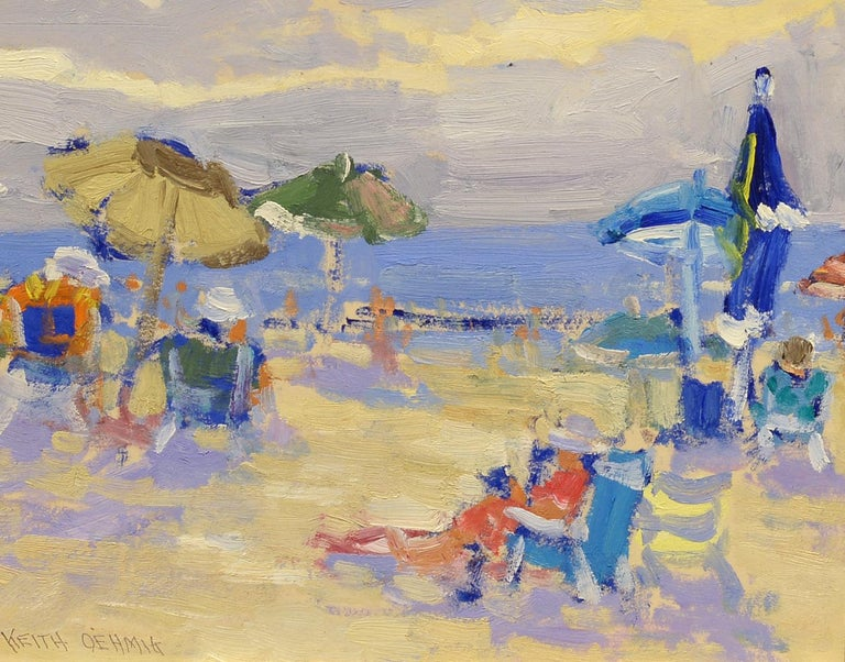 """At the Beach,"" Keith Oehmig, oil landscape, impressionist, contemporary art - Painting by Keith Oehmig"
