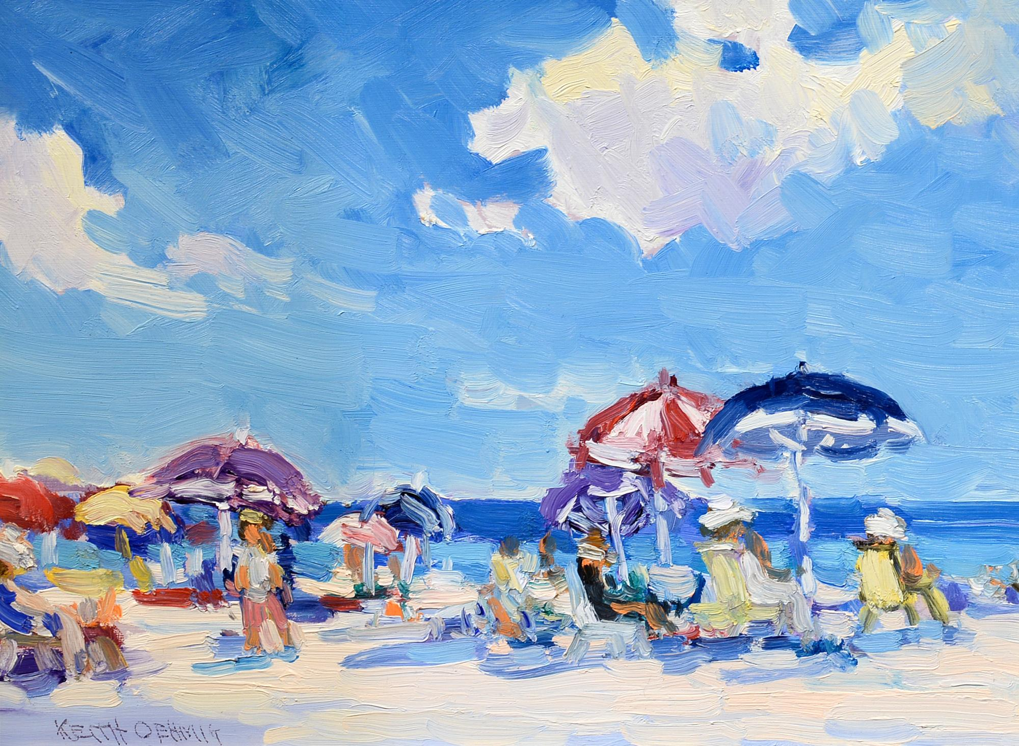 """""""Breezy Day at the Beach"""" Keith Oehmig, impressionist, contemporary, beach scene"""