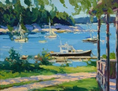 """Center Harbor Morning"" Keith Oehmig, oil, coastal, harbor, impressionist, Maine"