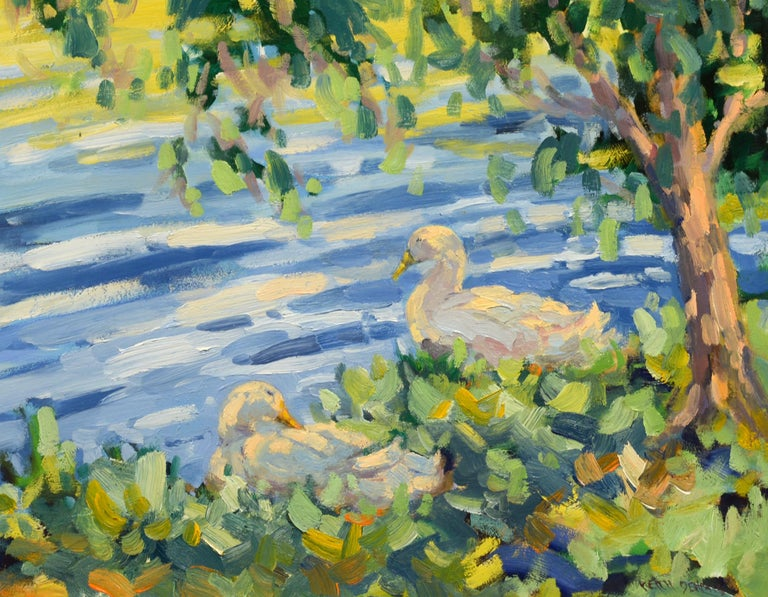 """Dappled Light,"" Keith Oehmig, impressionist, landscape, oil, ducks,  - Painting by Keith Oehmig"