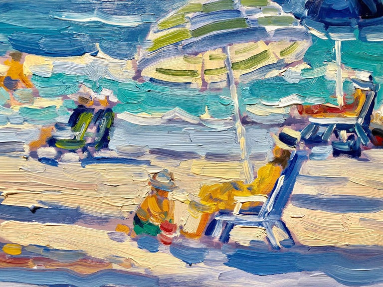 Day at the Beach - Impressionist Painting by Keith Oehmig