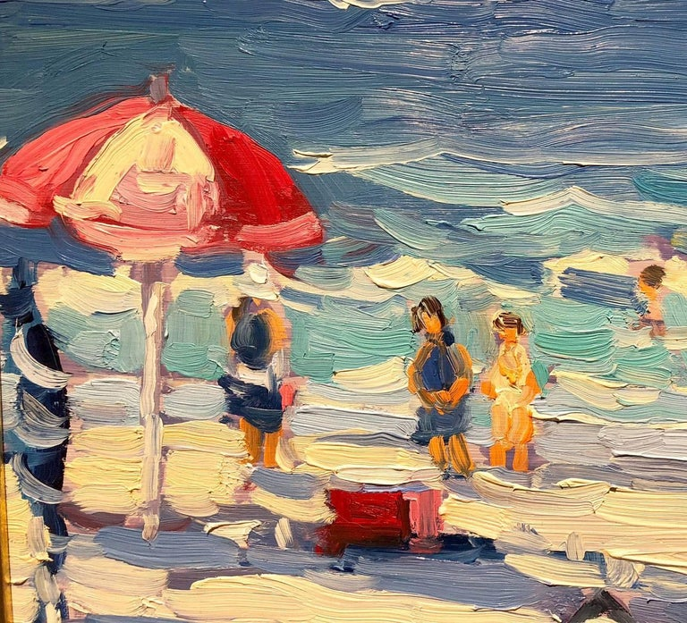 Day at the Beach - Gray Figurative Painting by Keith Oehmig