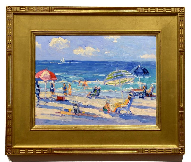Keith Oehmig Figurative Painting - Day at the Beach