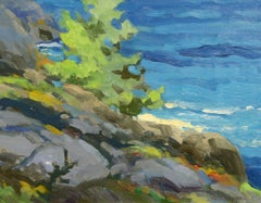 """Monhegan Ledges,"" Keith Oehmig, impressionist, contemporary landscape, oil"