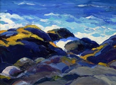 Morning Seas, Keith Oehmig, oil, Impressionist, Monhegan, Maine coast, seascape
