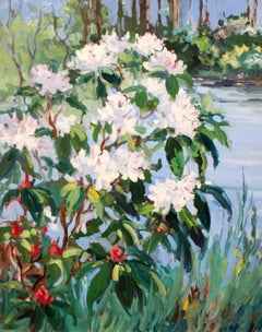"""Rhododendron on the Shore"" contemporary impressionist landscape painting"