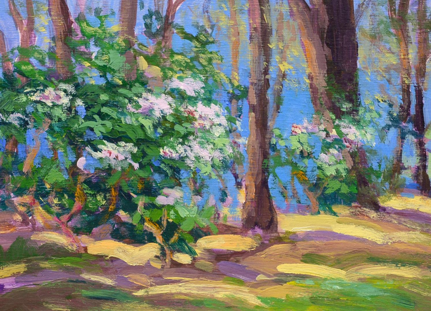 """""""Spring Rhodies"""" Keith Oehmig, Impressionist oil"""