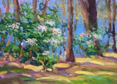 """Spring Rhodies"" Keith Oehmig, Impressionist oil"