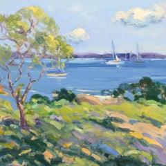 """Summertime, Casco Bay,"" Keith Oehmig, impressionist oil, sailing, Maine coast"