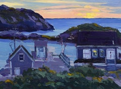 """Twilight, Monhegan Harbor,"" Keith Oehmig, oil, artist colony, Maine coast"
