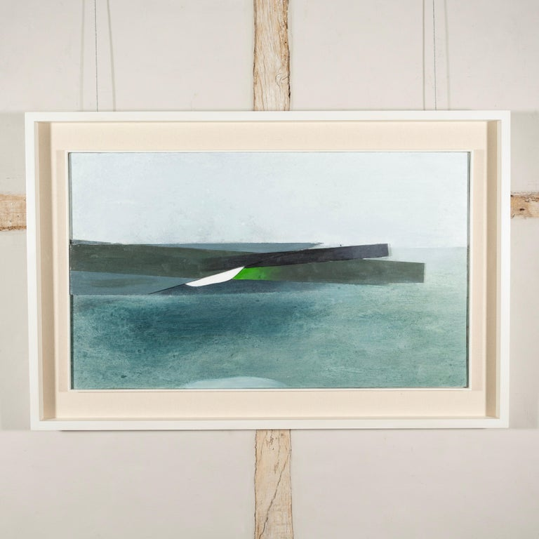Keith Purser, Sea Study, 2007, abstract landscape painting blue green - Gray Landscape Painting by Keith Purser