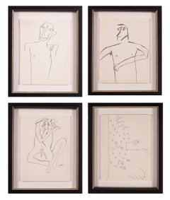 A set of 4, 20th Century, British, black and white drawings by Keith Vaughan