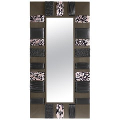 Kelbia Stand Mirror in Wooden Frame and Fabric by Roberto Cavalli