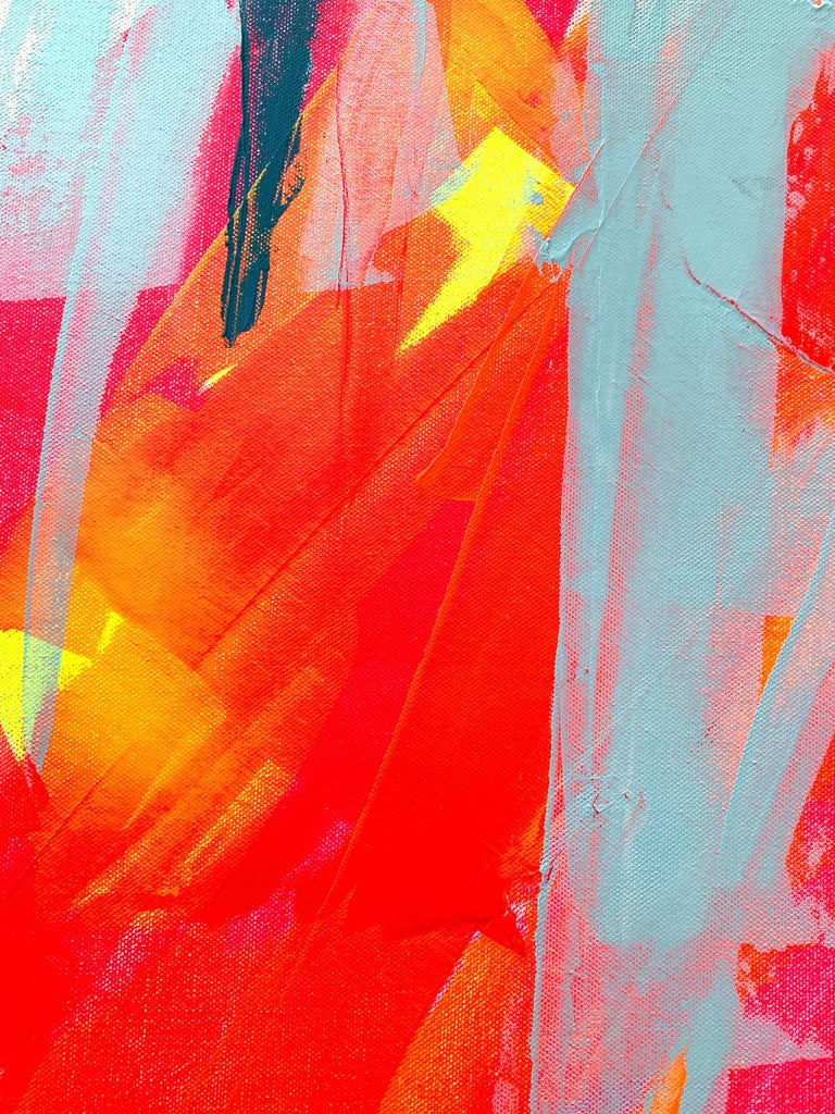 Medium: Acrylic on canvas Signature: On the back  Condition: Brand new Certificate of Authenticity: Included  Kelda created abstract paintings in her recognisable fluorescent colour palette. She explains how: 'The fluorescent colours used are a